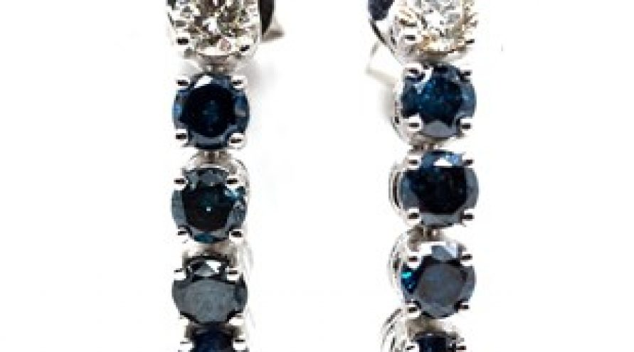 18K WHITE GOLD BLUE & WHITE DIAMOND EARRINGS
