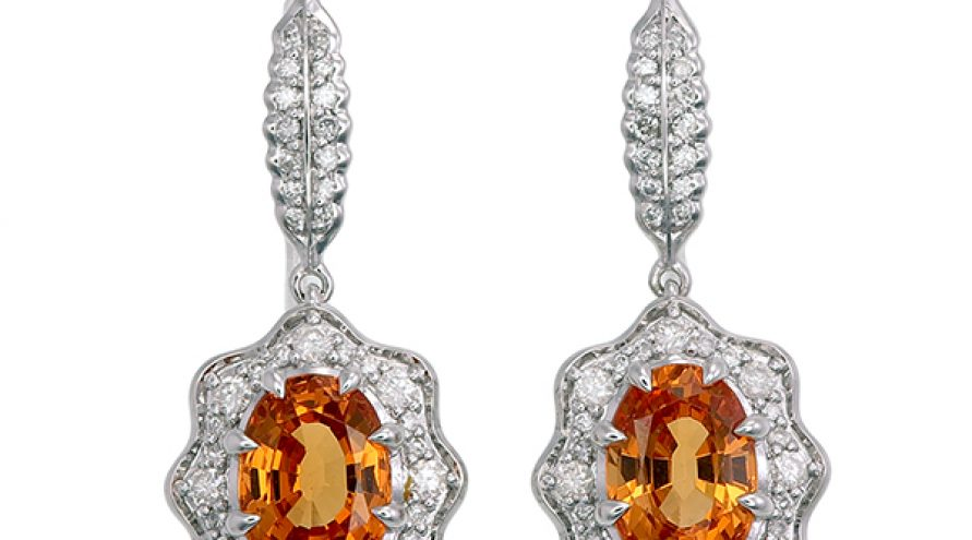 Spessartite and Diamond White Gold Earring