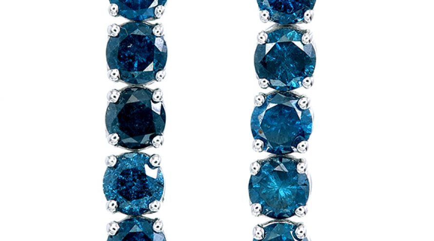 18K NATURAL BLUE DIAMOND EARRINGS