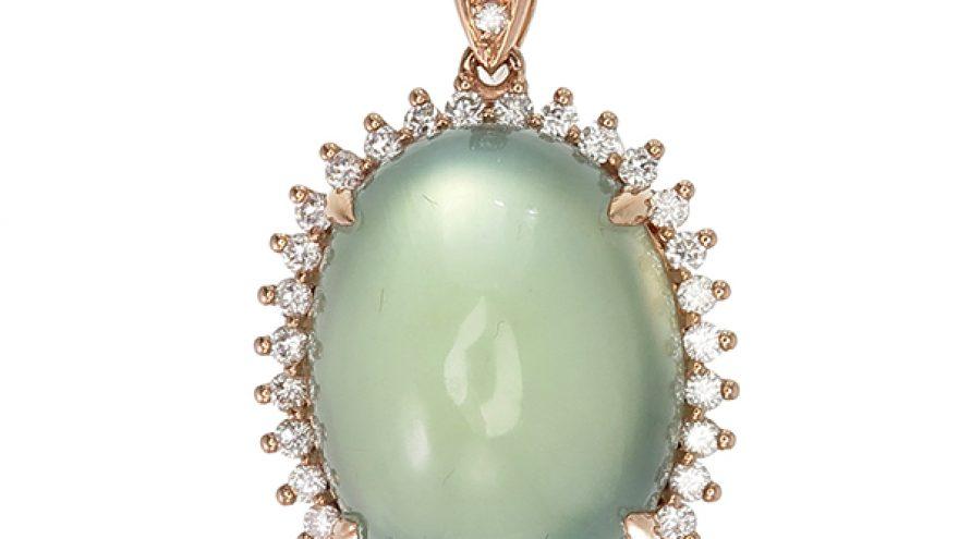 Prehnite and Diamond Pendant