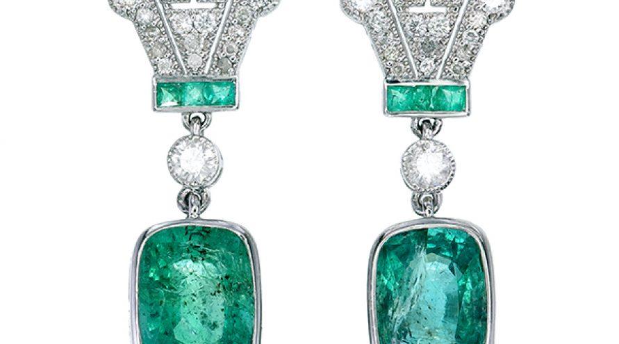 Emerald and Diamond Fancy Earring