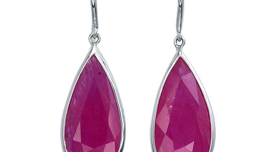 Ruby Pear Model Fancy Earrings