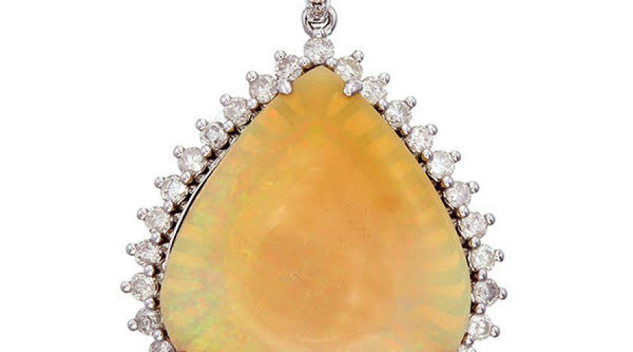 Opal Single Halo Diamond Pendant