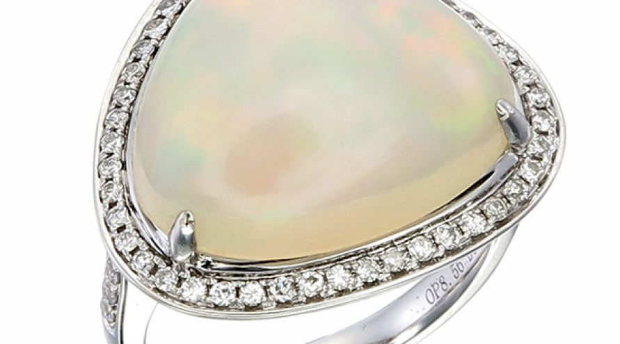 18K WHITE GOLD OPAL AND DIAMOND RING