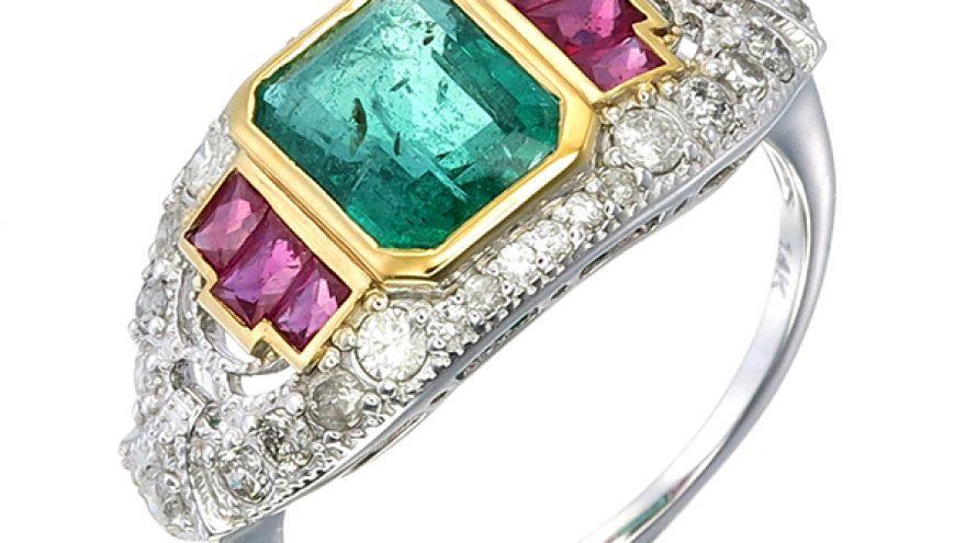 14k White Gold Artdeco Emerald Ruby Diamond Ring