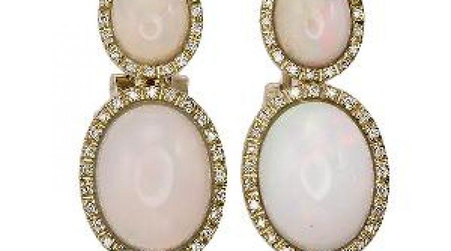 Opal and Diamond Earring