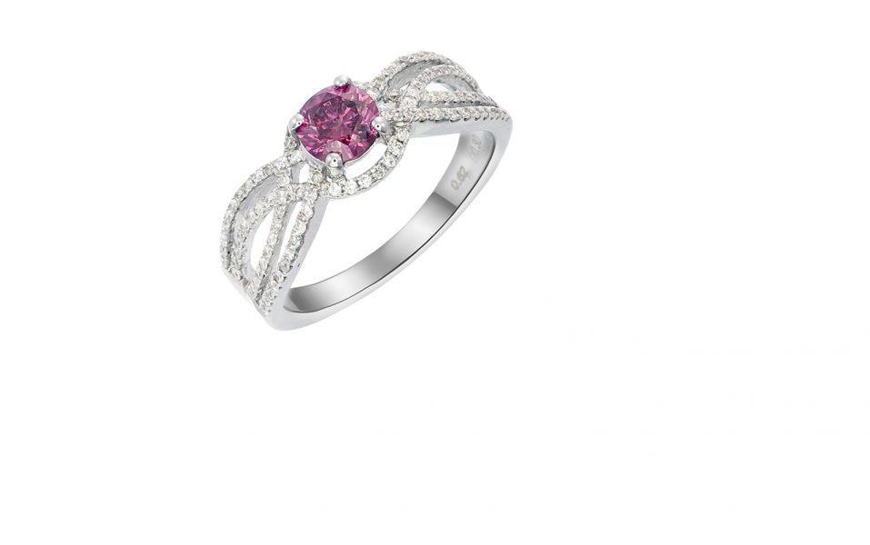 18K WHITE GOLD PINK DIAMOND AND DIAMOND RING