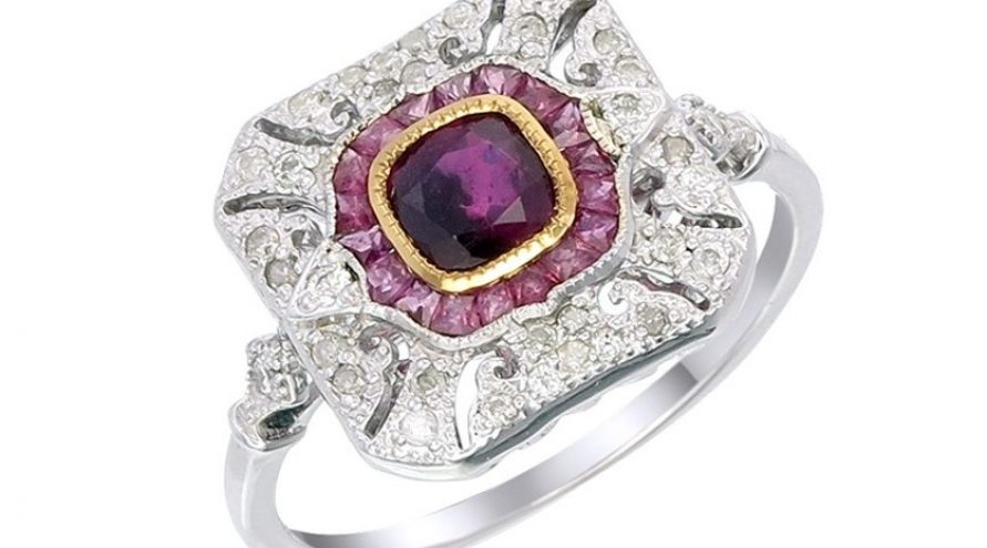 9K WHITE GOLD RUBY AND DIAMOND RING