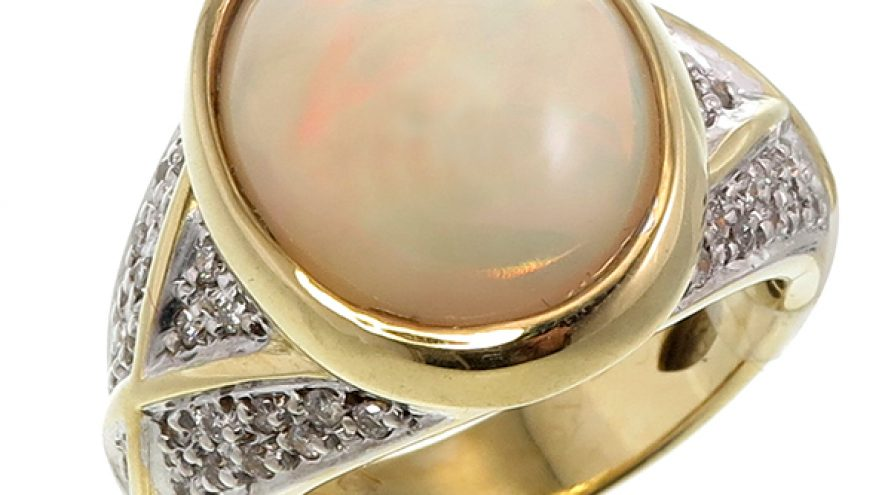 White Opal and Diamond Ring