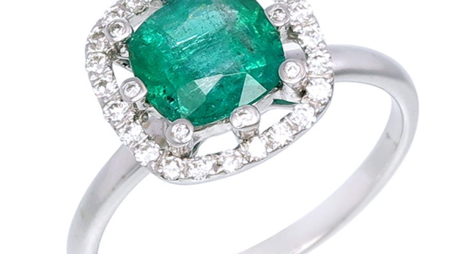 Emerald and Halo Diamond Ring