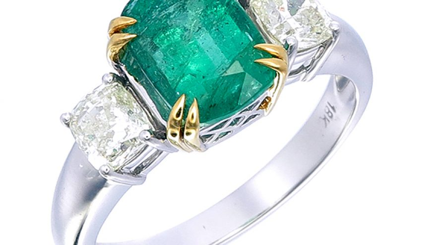 Emerald and Zimba Diamond Ring