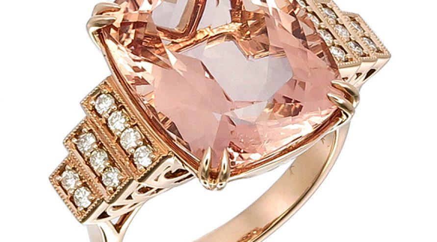 Pink Morganite and Diamond Ring