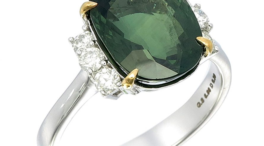 Green Saphire and Diamond Ring