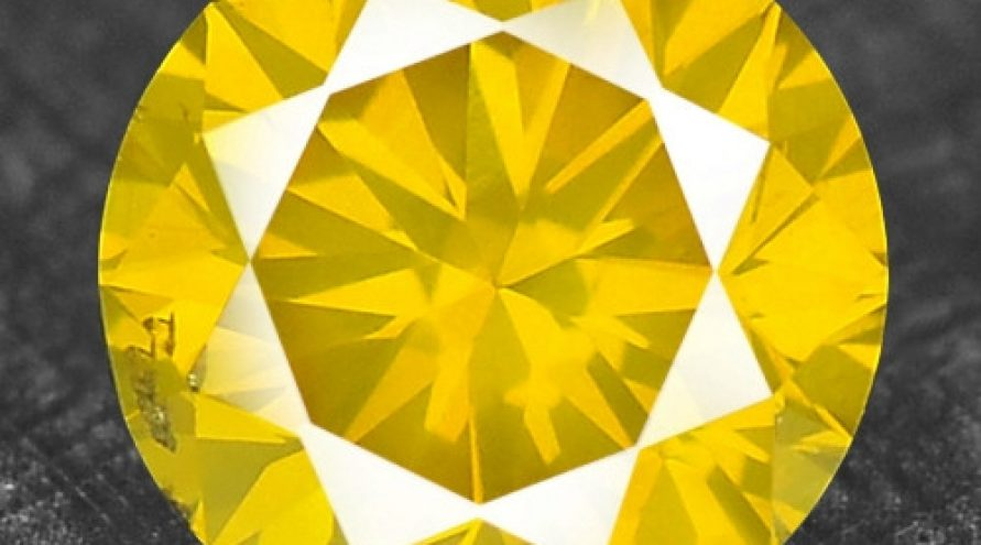 0.34 Cts RARE FANCY CANARY YELLOW COLOR NATURAL DIAMOND
