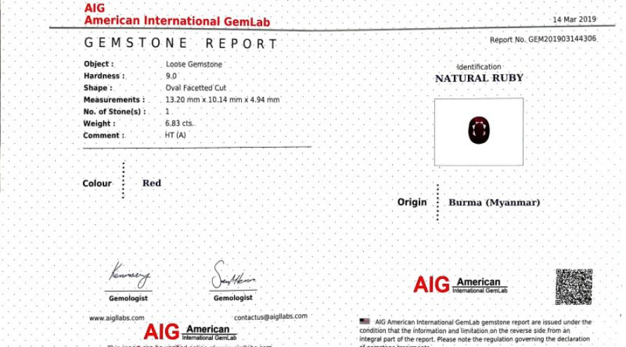 AIG CERTIFIED 6.83 Cts NATURAL RED RUBY LOOSE GEMSTONE