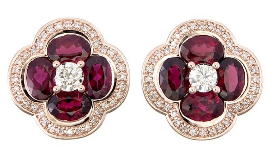 Ruby Lite And Diamond Earring