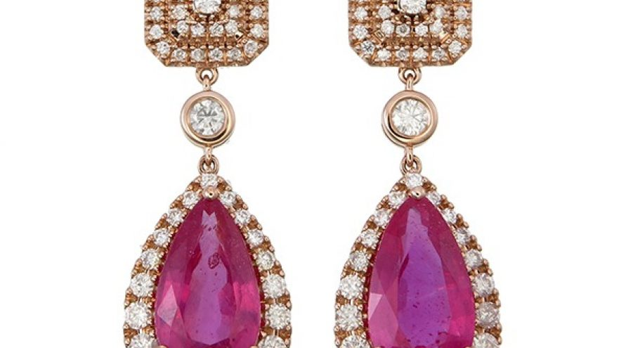 Pink Tourmaline and Diamond Fancy Earring