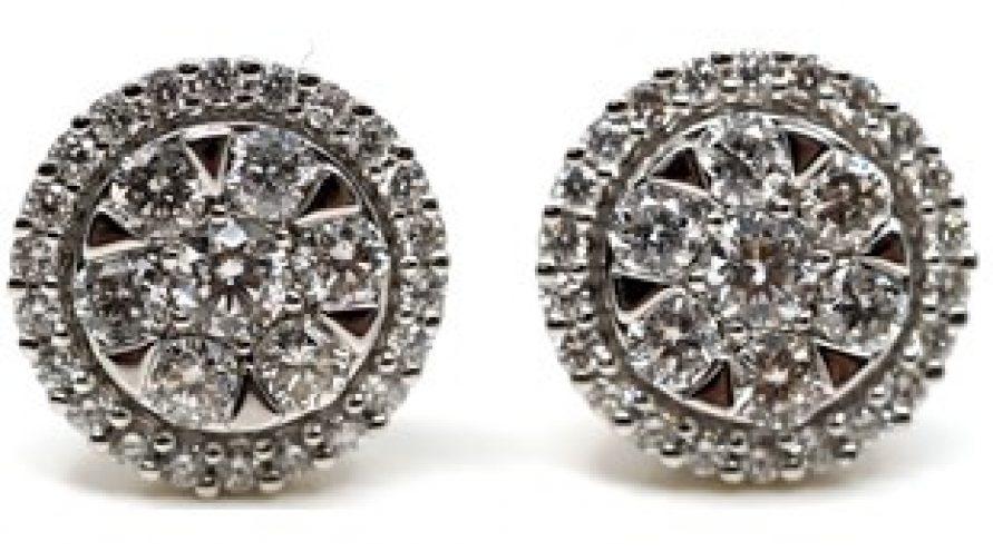 18K WHITE GOLD CLASSIC CLUSTER DIAMOND EARRINGS