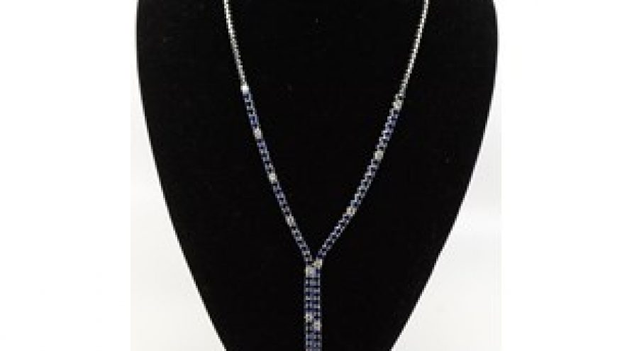 18K WHITE GOLD ROYAL BLUE SRI LANKAN SAPPHIRE AND DIAMOND NECKLACE