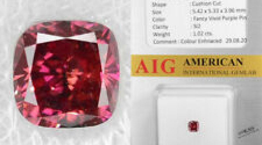 1.02 Cts AIG Certified Fancy Vivid Purple Pink Color Natural Loose Diamond
