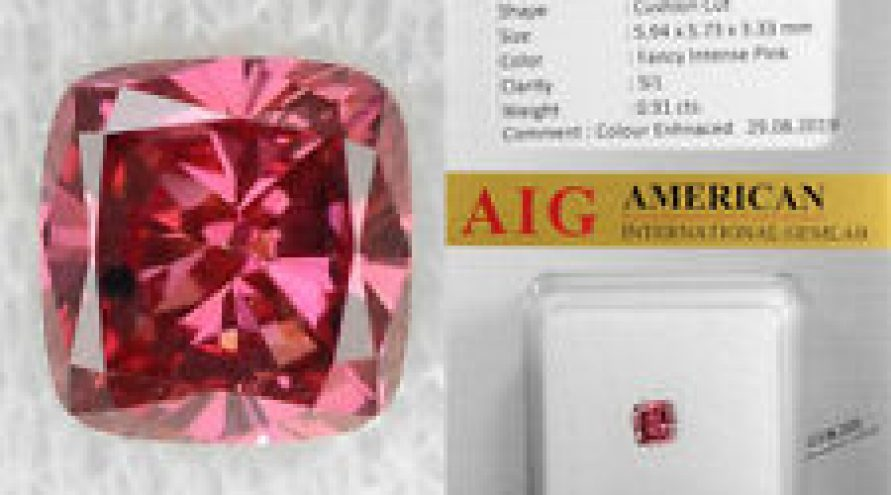 0.91 Cts AIG Certified Fancy Intense Pink Color Natural Loose Diamond