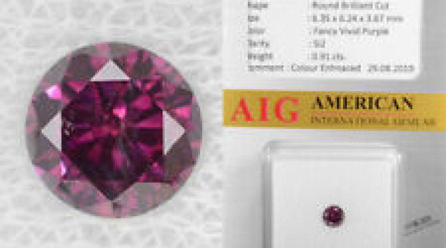 0.91 Cts AIG Certified Fancy Vivid Purple Color Natural Loose Diamond- SI2