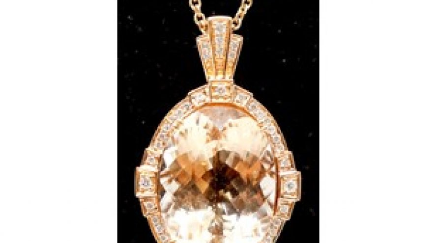 18K YELLOW GOLD MORGANITE AND DIAMOND NECKLACE