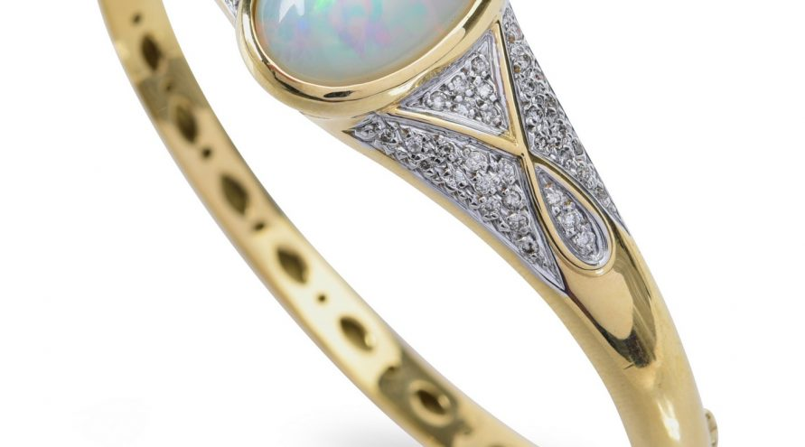 Handmade Opal and Diamond Bangle