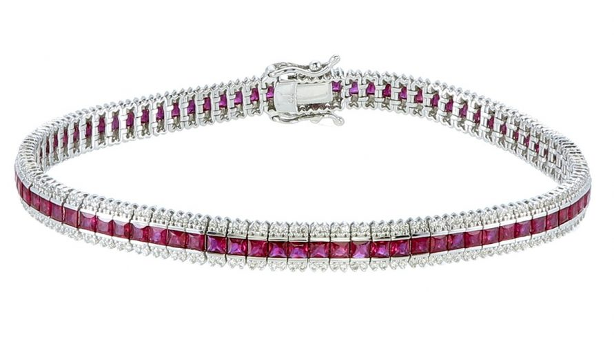 Natural Rubylight and Diamond Bracelets
