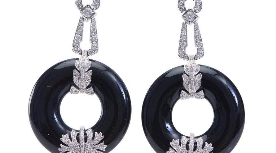 Round ONXY Diamond Fancy Earring