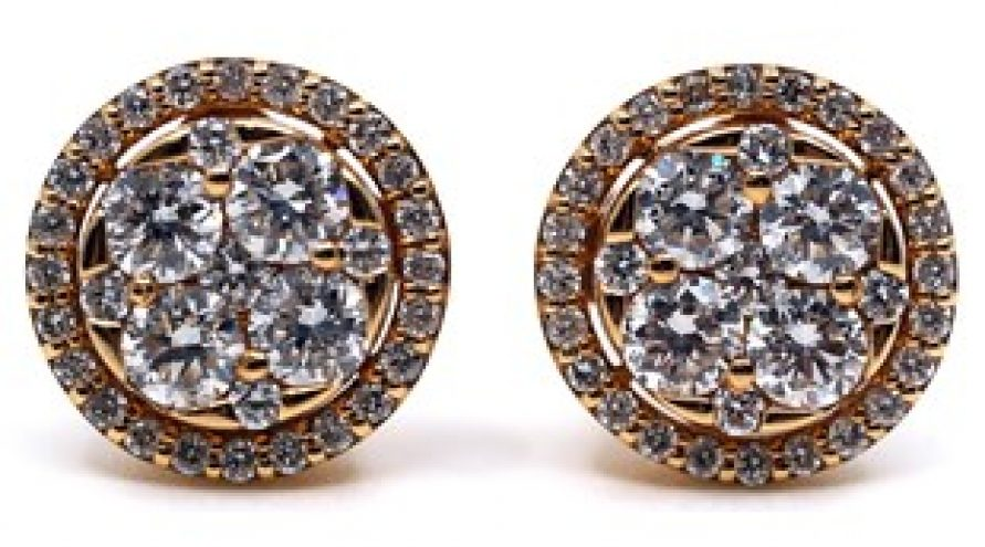 18K YELLOW GOLD TONE CLASSIC DIAMOND CLUSTER EARRING