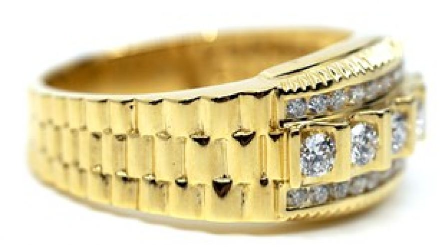 "18K YELLOW GOLD ROLEX ""MEN'S"" DIAMOND RING"