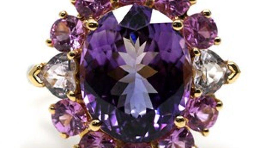 18K YELLOW GOLD UNHEATED PINK TANZANITE, PINK SAPPHIRE AND DIAMOND RING