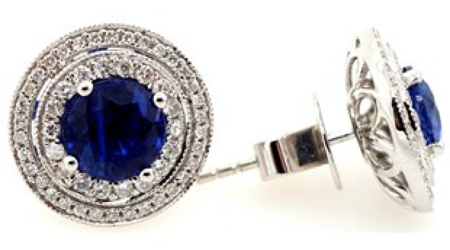 18K WHITE GOLD KYANITE AND DIAMOND EARRING