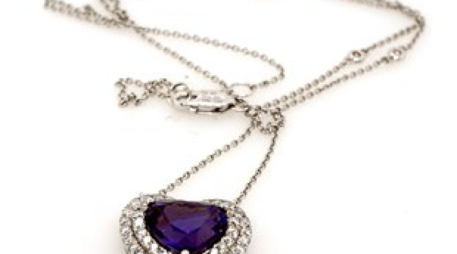 18K WHITE GOLD UNHEATED PURPLE TANZANITE AND DIAMOND NECKLACE
