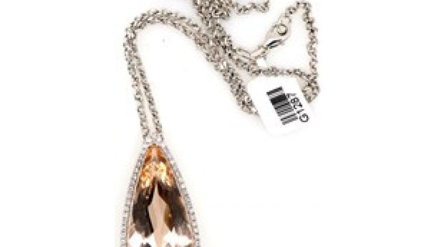 18K WHITE GOLD MORGANITE AND DIAMOND NECKLACE