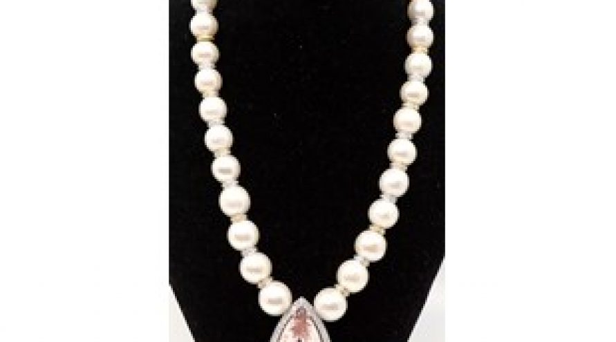 PEARL AND DIAMOND, MORGANITE PENDANT NECKLACE