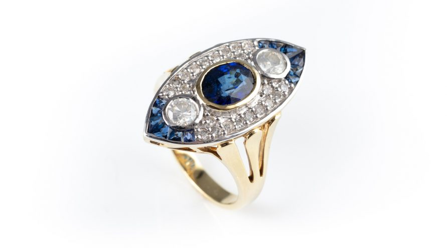 14K Yellowgold Art Deco Royal Sapphire and Diamond Ring