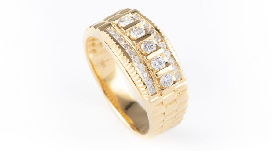 18K Yellow Gold Rolex Diamond Ring