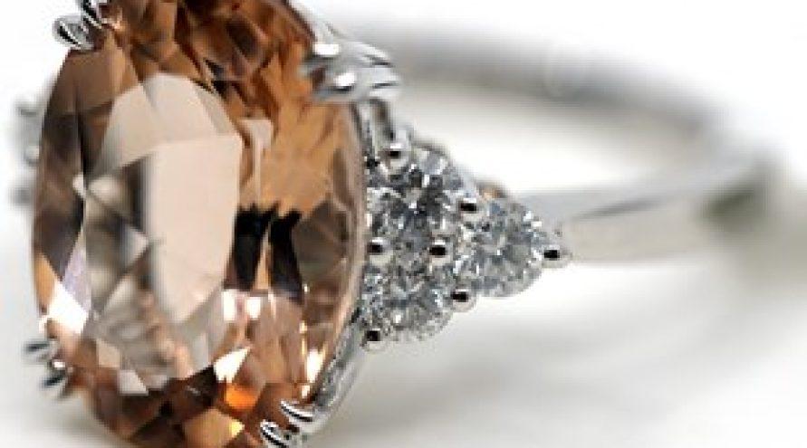 18K WHITE GOLD PINK MORGANITE AND DIAMOND RING