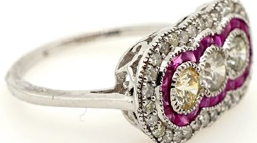 NATURAL RUBY AND DIAMOND WHITE GOLD RING