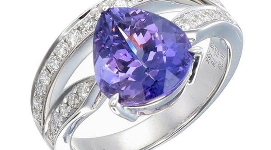 Unheated Pink Tanzanite Diamond Ring