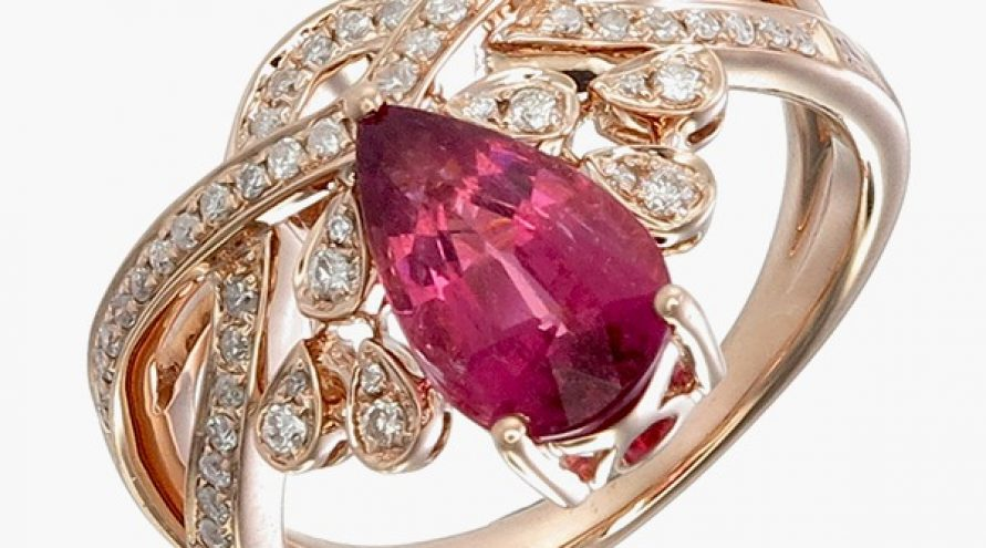 Rubelite And Diamond Fancy Ring