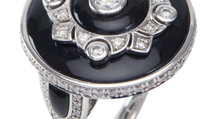 Onxy And Diamond Fancy Ring