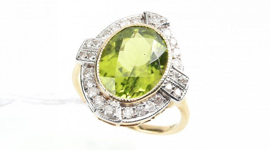 Parrot Green Garnet Peridot Ring