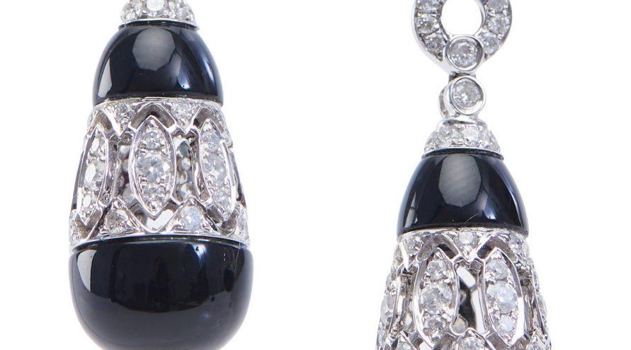 Onxy and Diamond Fancy Earring