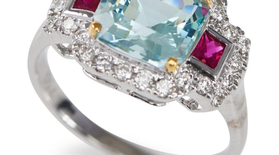 Aquamarine Ruby and Diamond White Gold Ring