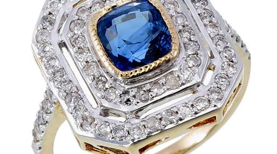 Art Deco Blue Cylon Sapphire Diamond Ring