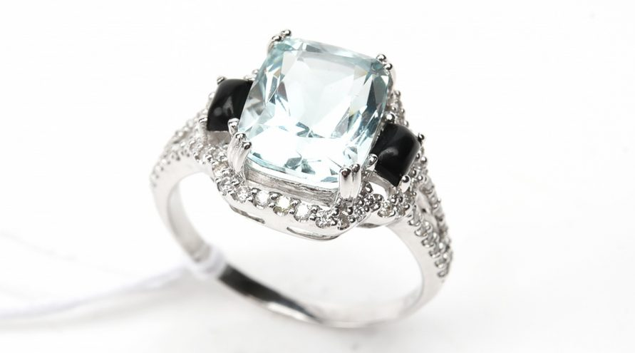 Aquamarine and Onxy  Diamond Ring