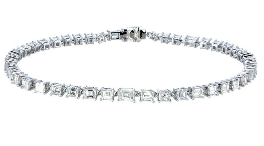 Natural Clear Fancy unheated Diamond Tennis Bracelets